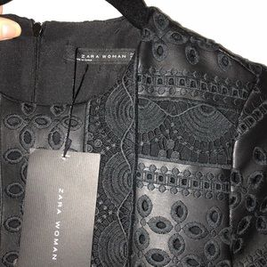 ZARA embroidered leather dress